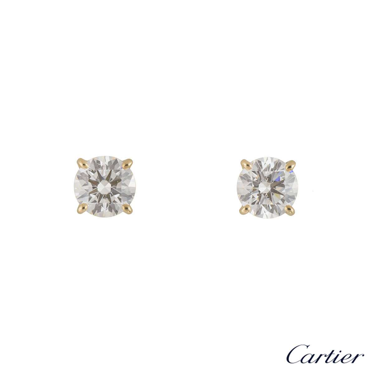d43dc33d7 Cartier Yellow Gold 1895 Diamond Earrings XXX 1.06ct N8023400